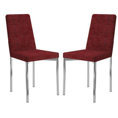 Cadeira 399 Cromada 02 Unidades Tecido Vermelho Floral Carraro