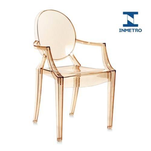 Cadeira Acrílica Louis Ghost - com Braços - Sophia - Ambar
