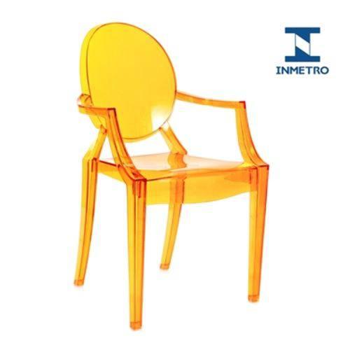 Cadeira Acrílica Louis Ghost - com Braços - Sophia - Laranja