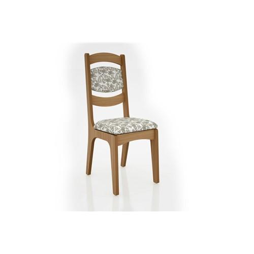 Cadeira Alta 25mm Assento e Encosto Estofado CA27 Dalla Costa Freijó com Floral Claro