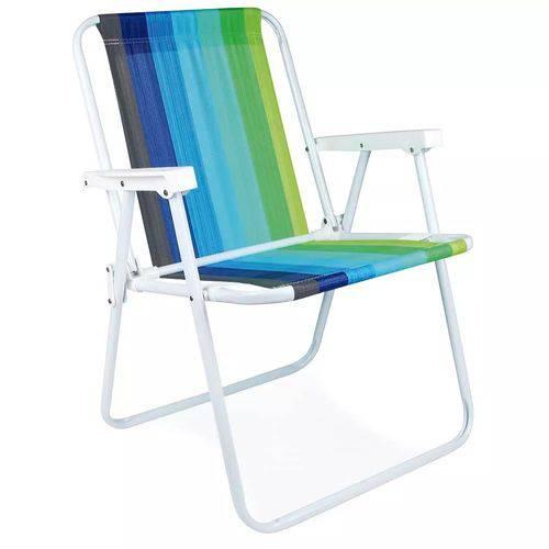 Cadeira Alta em Aço Tons de Verde e Azul Mor