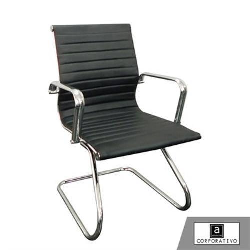 Cadeira Base Fixa em Pu Preta