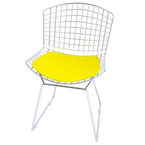 Cadeira Bertoia Cromada com Amarelo