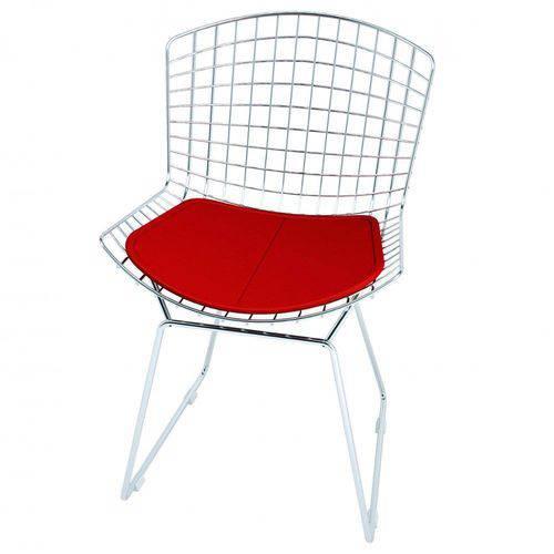 Cadeira Bertoia Cromada com Vermelha