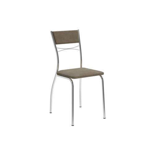 Cadeira Carraro 1701 Aço Cromada (Jogo 4 Unidades) - Cor Cromada - Assento/Encosto Camurça Conhaque