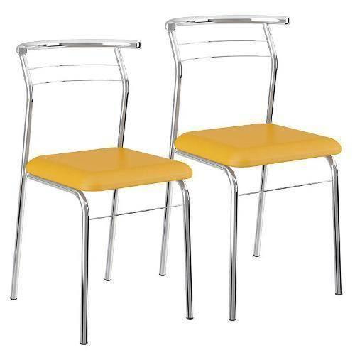 Cadeira Carraro 1708 Aço Cromada (Jogo C/ 4 Unidades) - Cor Cromada - Assento Couríno Amarelo