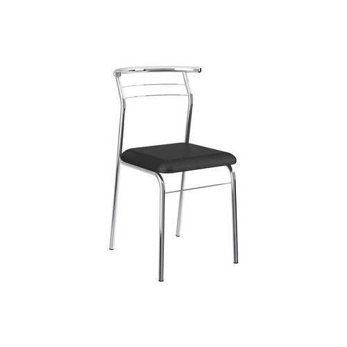 Cadeira Carraro 1708 Aço Cromada (Jogo C/ 4 Unidades) - Cor Cromada - Assento Couríno Preto