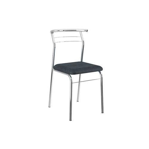 Cadeira Carraro 1708 Aço Cromada (Jogo C/ 4 Unidades) - Cor Cromada - Assento Jeans