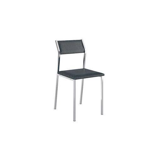 Cadeira Carraro 1709 Aço Cromada (Jogo C/ 4 Unidades) - Cor Cromada - Assento/Encosto Couríno Jeans