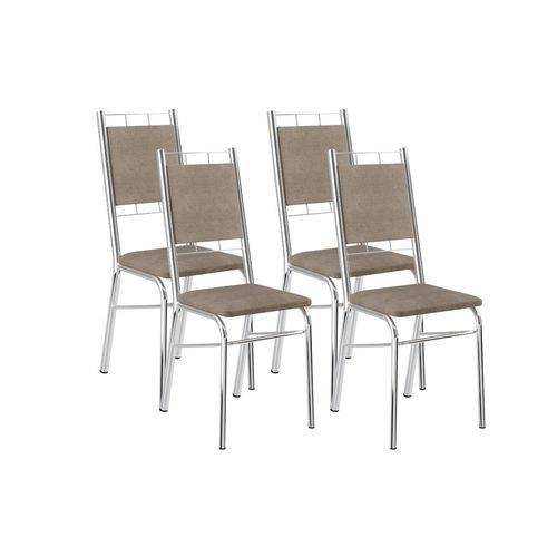 Cadeira Carraro 1724 Aço Cromada (Jogo C/4 Unidades)- Cor Cromada- Assento/Encosto Camurça Conhaque