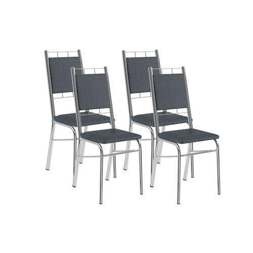 Cadeira Carraro 1724 Aço Cromada (Jogo C/4 Unidades) - Cor Cromada - Assento/Encosto Couríno Jeans