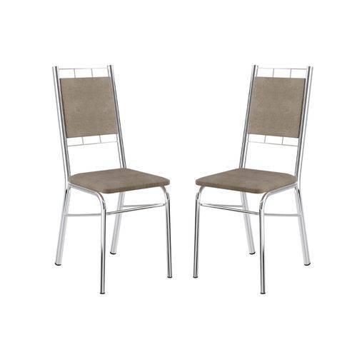 Cadeira Carraro 1724 Aço Cromada (Jogo C/2 Unidades) - Cor Cromada - Assento/Encosto Camurça Conhaque