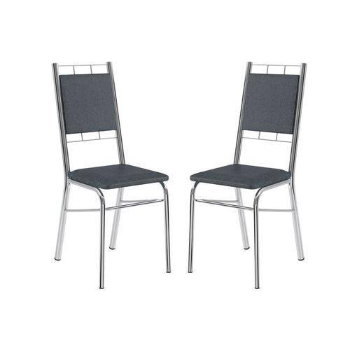 Cadeira Carraro 1724 Aço Cromada (Jogo C/2 Unidades) - Cor Cromada - Assento/Encosto Couríno Jeans