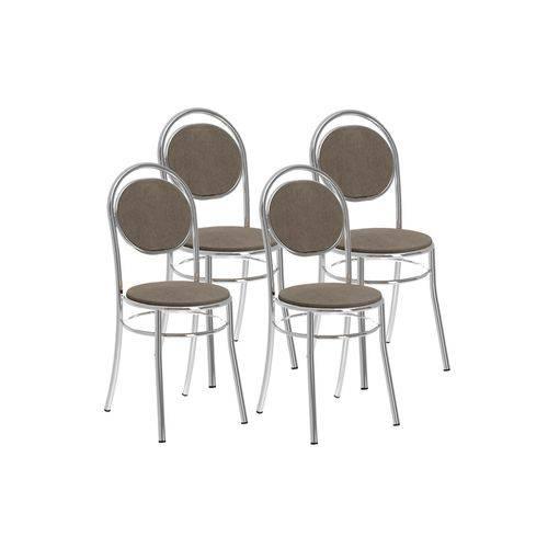 Cadeira Carraro 190 Aço Cromada (Jogo C/ 4 Unidades)- Cor Cromada- Assento/Encosto Camurça Conhaque