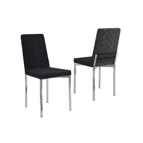Cadeira Carraro 399 Aço Cromada (Jogo C/ 4 Unidades) - Cor Cromada/Black Listrado/Preto Trama