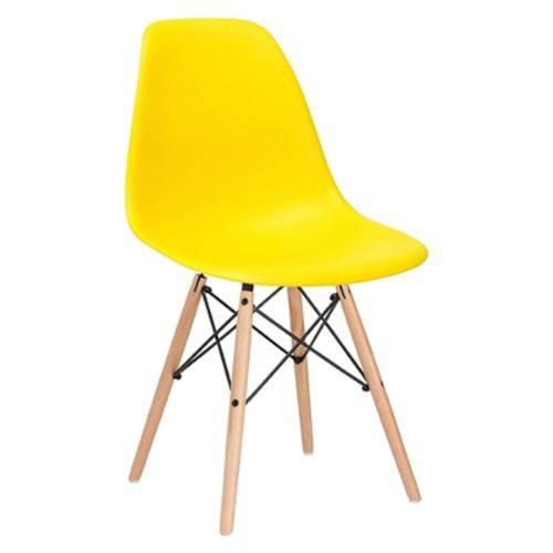 Cadeira Charles Eames Eiffel DSW - Amarelo - Madeira Clara