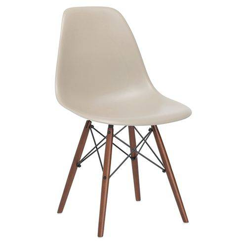 Cadeira Charles Eames Eiffel DSW - Bege - Nude - Madeira Escura