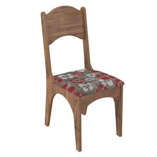 Cadeira com Assento Estofado CA18 Dalla Costa - Caixa com 2 Unidade - Nobre/Chenille Floral