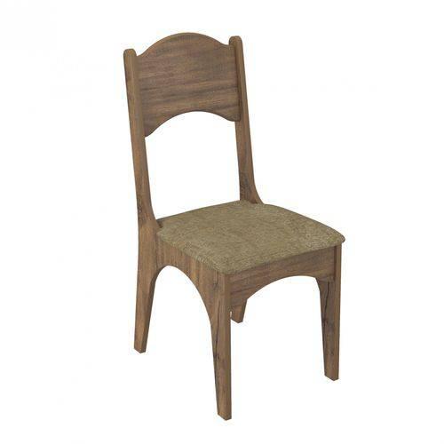 Cadeira com Assento Estofado CA18 Dalla Costa - Caixa com 2 Unidade - Nobre/Chenille Marrom