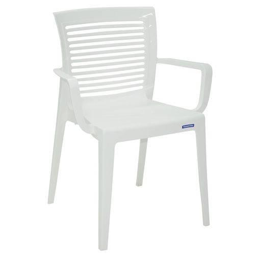 Cadeira com Braços de Encosto Vazado Horizontal Branco Victória Tramontina 92042010