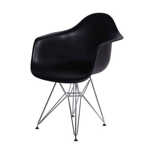 Cadeira com Braços Eames em Metal 1121 OR Design Preto
