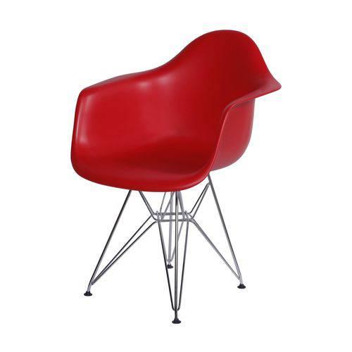 Cadeira com Braços Eames em Metal 1121 OR Design Vermelho
