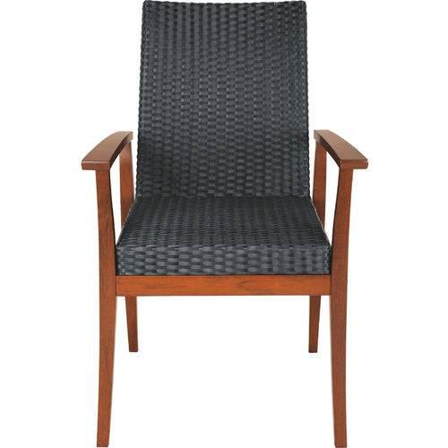 Cadeira com Braços Fibra Preta - Terrazzo Fibra - Cor Preto