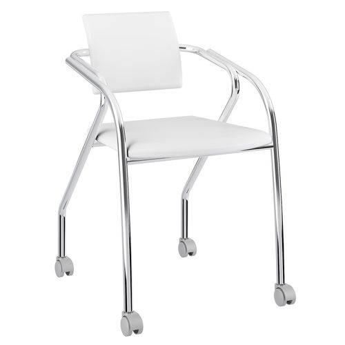 Cadeira com Rodízios 1713 Cromada Branca Carraro