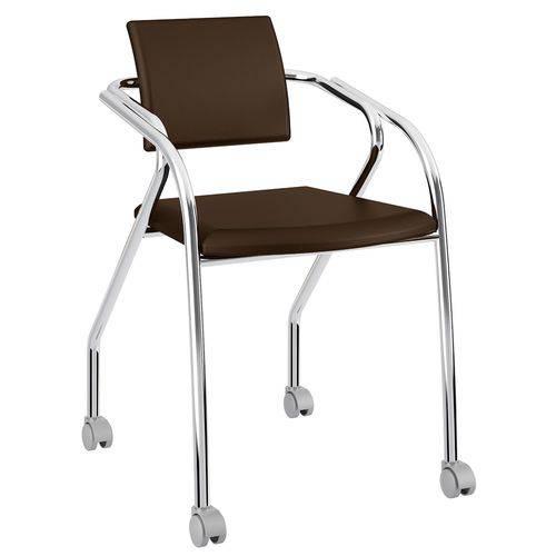 Cadeira com Rodízios 1713 Cromada Cacau Carraro