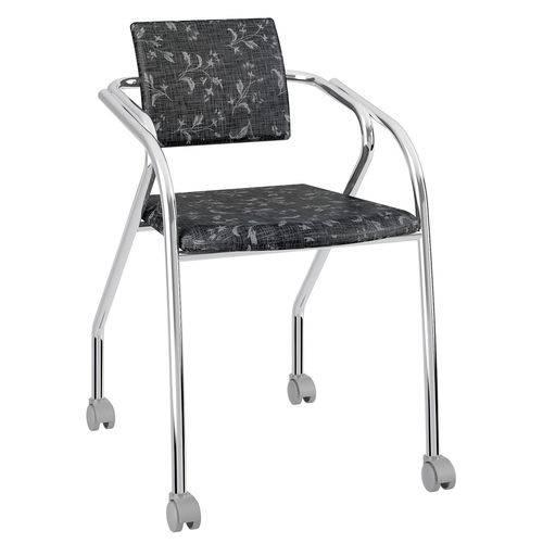 Cadeira com Rodízios 1713 Cromada Fantasia Preto Carraro