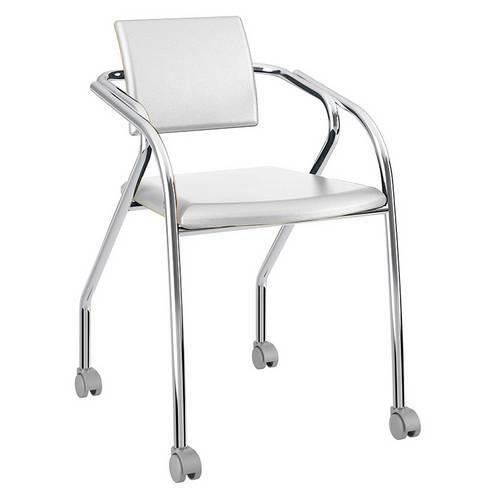 Cadeira com Rodízios 1713 Cromada Napa/Branca Carraro