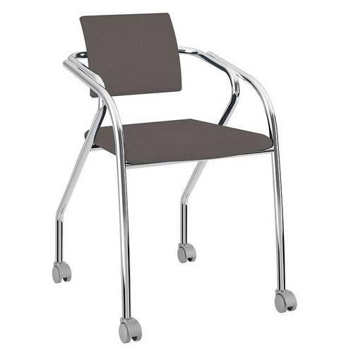 Cadeira-com Rodízios-1713-Cromada-Napa/Cacau-Carraro