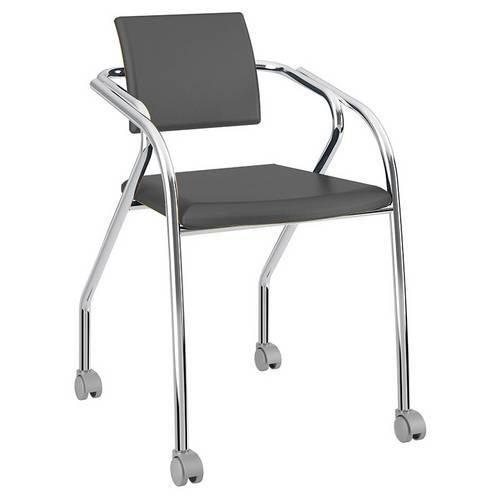 Cadeira-com Rodízios-1713-Cromada-Napa/Preta-Carraro