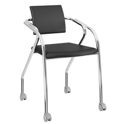 Cadeira com Rodízios 1713 Cromada Preta Carraro