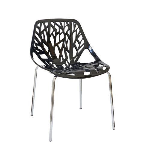 Cadeira Consuelo Preta - Base Cromada Preta