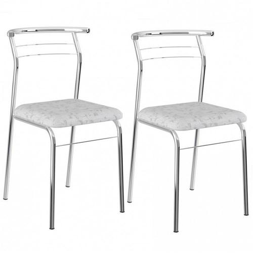 Cadeira Cromada 1708 02 Unidades - Carraro Branco