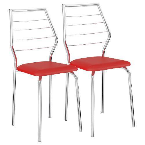 Cadeira Cromada 1716 02 Unidades Carraro | Cor: Vermelho Real
