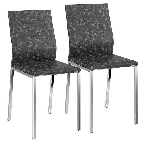 Cadeira Cromada 1804 02 Unidades Carraro | Cor: Preto Fantasia