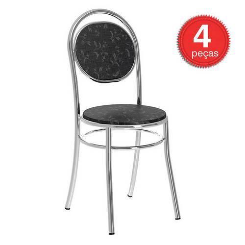 Cadeira Cromada 190 04 Unidades - Carraro, | Cor: Fantasia Preto