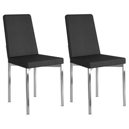 Cadeira Cromada 399 02 Unidades Carraro | Cor: Courissimo Preto