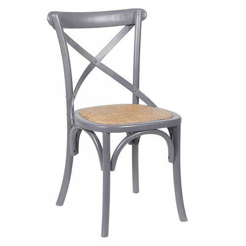 Cadeira Cross - Katrina - Madeira e Ratan - Cinza Escuro