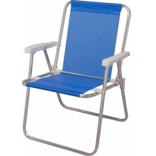 Cadeira de Alumínio de Praia Alta Sannet Azul Mor