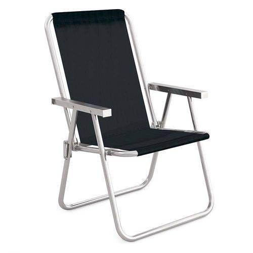 Cadeira de Alumínio Preta Conforto Praia 110kgs Mor