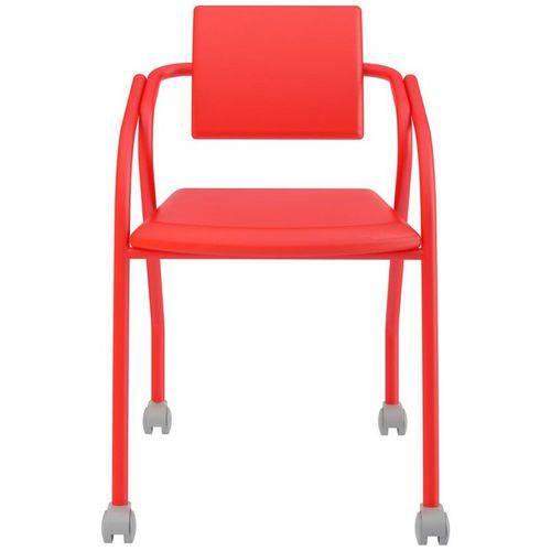 Cadeira de Escritório 1713 com Rodízios Vermelho - Carraro