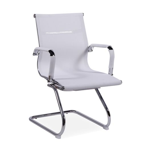 Cadeira de Escritório Fixa, Cromada, Branco, Idea