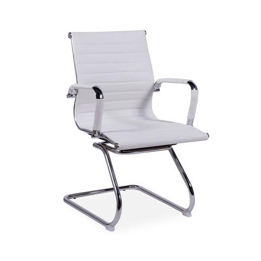 Cadeira de Escritório Fixa, Cromada, Branco, Meriva