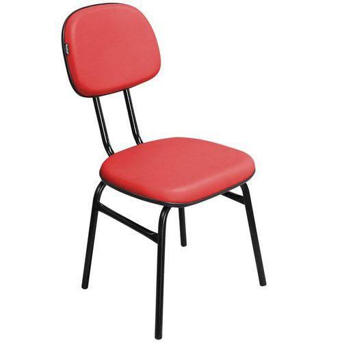 Cadeira de Escritório Secretária 3/4 Csf01 Fixa Corino Vermelho - Pethiflex