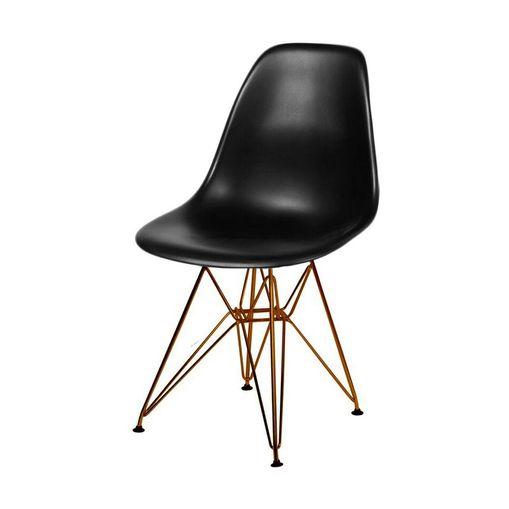 Cadeira de Jantar Eames Eiffel Preta Base Cobre 1102CO Ór