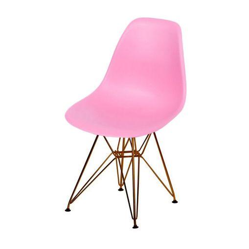 Cadeira de Jantar Eames Eiffel Rosa Base Cobre 1102CO Ór