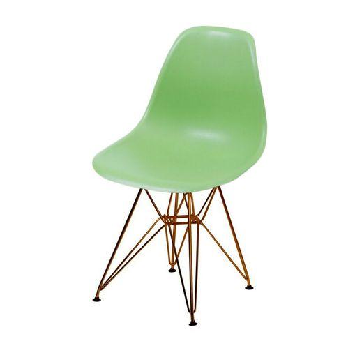 Cadeira de Jantar Eames Eiffel Verde Base Cobre 1102CO Ór